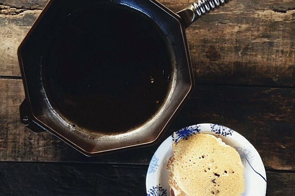 """Blueberry Pancakes With FINEX 12"""" Cast Iron Skillet"""