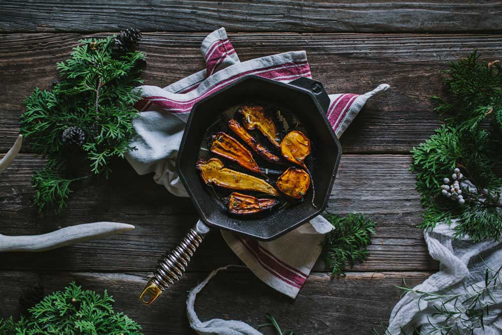 """Maple Balsamic Roasted Carrots With The FINEX 8"""" Cast Iron Skillet"""